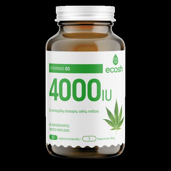 Vitaminas D3 su ekol.kanapių sėklų miltais 4000IU, 90 kapsulių