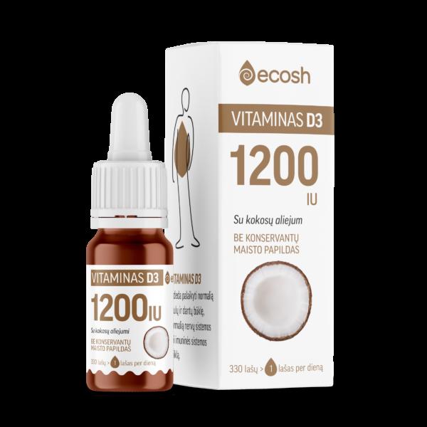 Vitaminas D3 su kokosų aliejumi 1200IU, 10ml