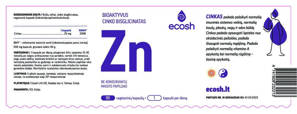 Bioaktyvus Cinkas, 90 kapsulių