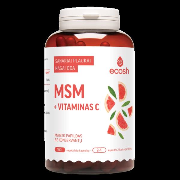 maisto papildas MSM + vitaminas C, 160 kapsulių