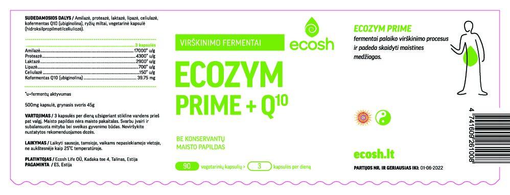Ecozym Prime fermentai + Q10, 90 kapsulių