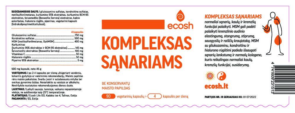 2 Naujiena! ECOSH Kompleksas sąnariams, 90 kapsulių